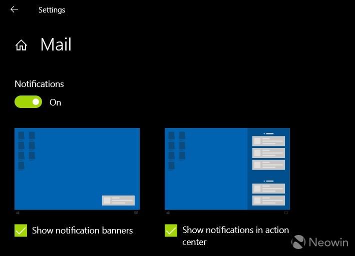 Windows 10 1909 impostazioni notifiche mail
