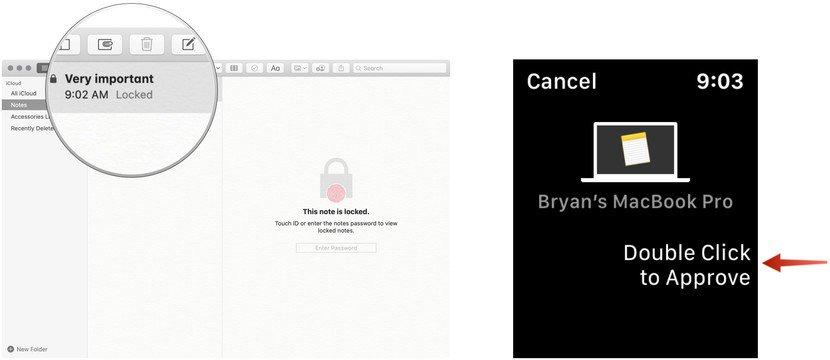 Approva con Apple Watch aprire una nota