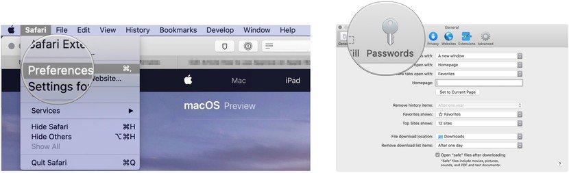 Approva con Apple Watch safari password