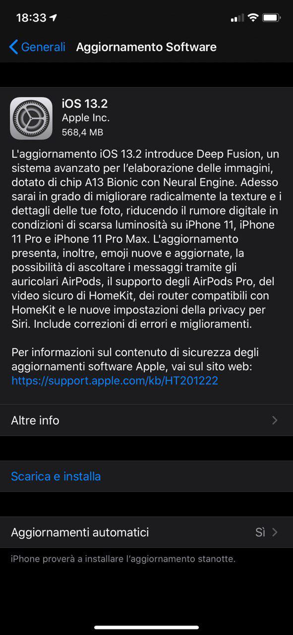 iOS 13.2 ufficiale