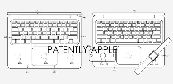 Brevetto mostra MacBook con ricarica wireless per iPhone