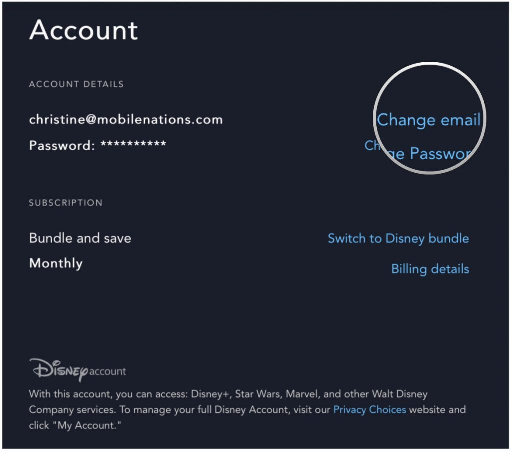 Come cambiare l'email account di Disney+