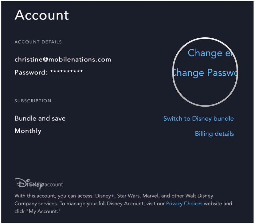 Come cambiare password su Disney+