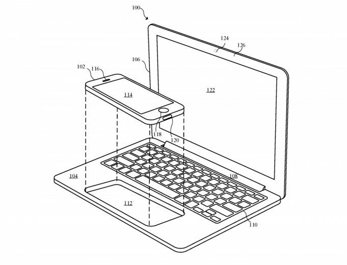 Brevetto Apple mostra una dock per iPhone e iPad su MacBook