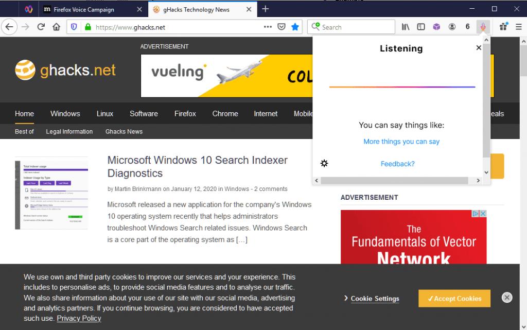 Con Firefox Voice Beta potete navigare sul web a voce