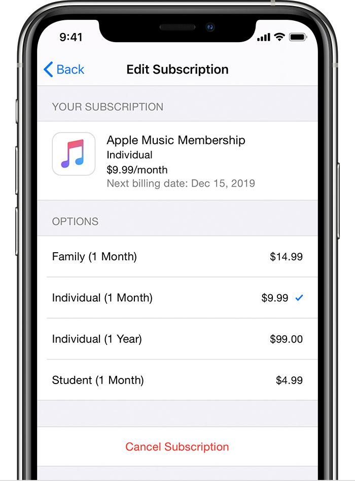 cambiare abbonamento ios 13 Apple Music
