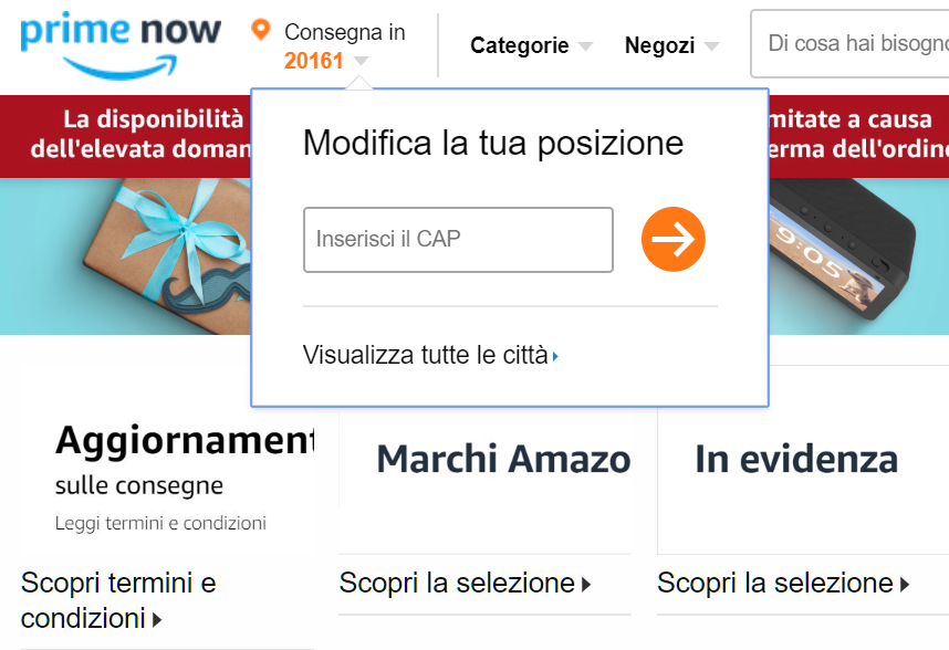 Amazon Prime Now come verificare il cap