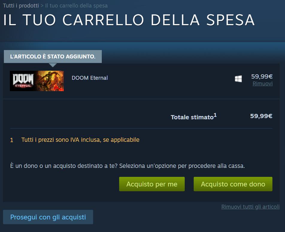 Carrello della spesa Steam