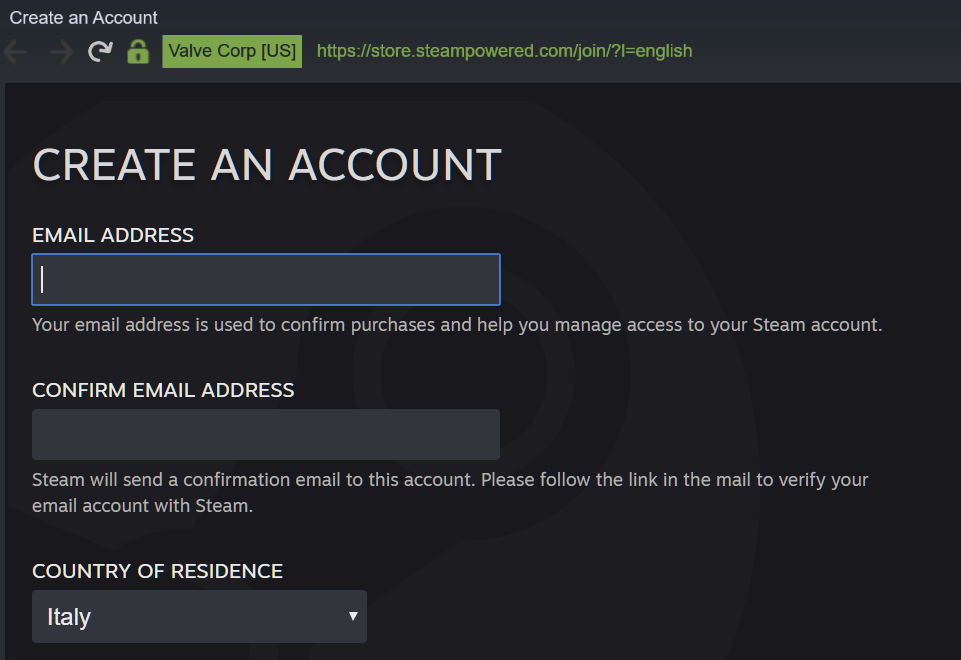 Come creare un account su Steam email