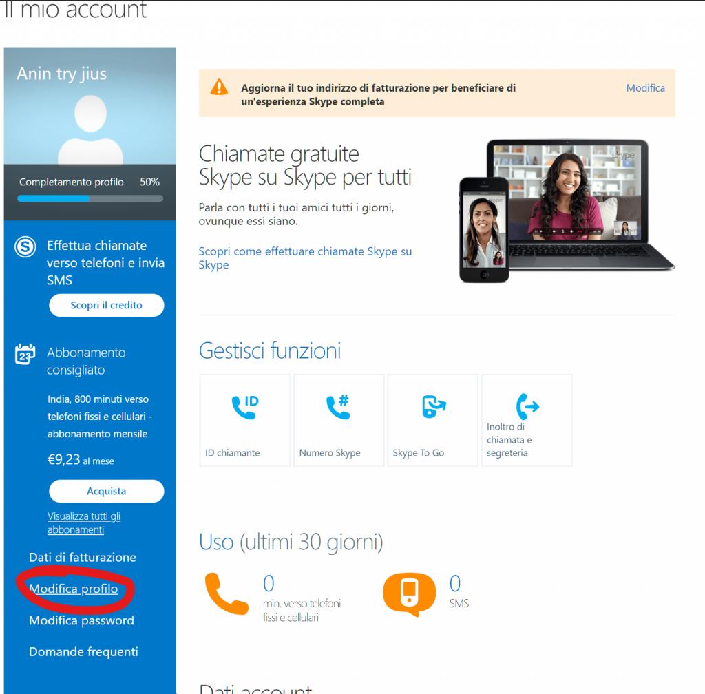 Entrare in modifica profilo per eliminare l'account Skype