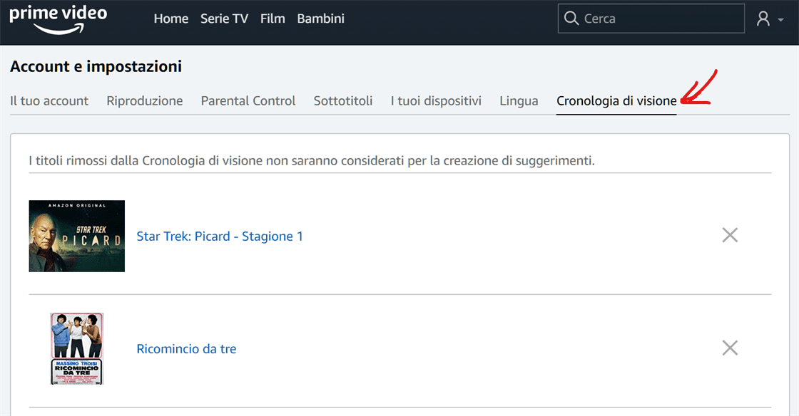 Come rimuovere la cronologia Amazon Prime Video 4