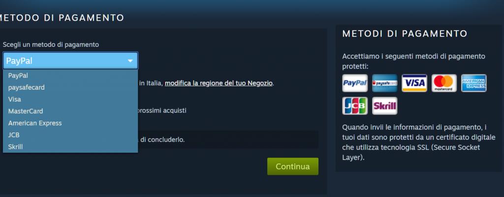 Metodi di pagamento accettati su Steam
