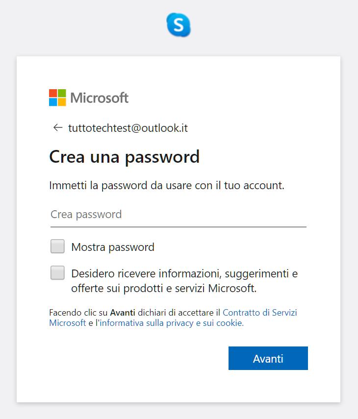 creare una password per l'account microsoft