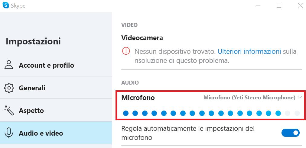 Skype non funziona: potrebbe essere un problema al microfono