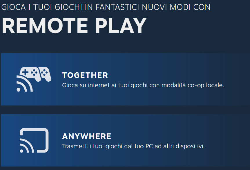 Steam Remote Play Together e Remote Play Anywhere