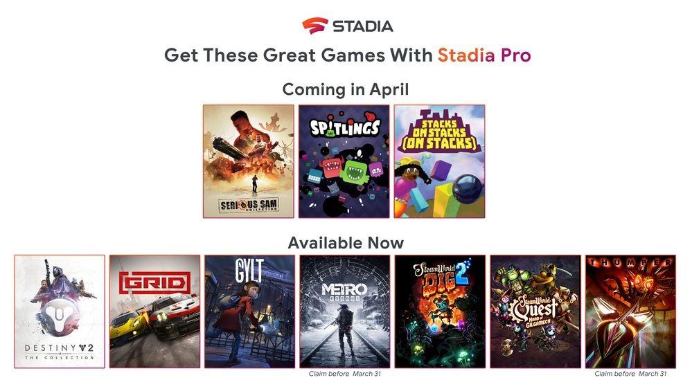 Sono tre i titoli in arrivo ad aprile su Google Stadia Pro 1