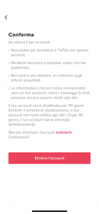 Come eliminare account tiktok