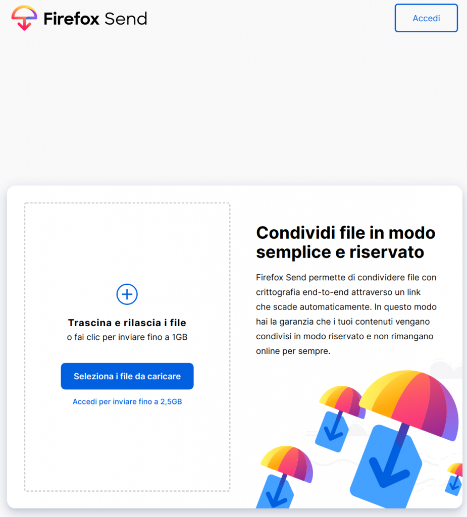 Interfaccia Firefox Send
