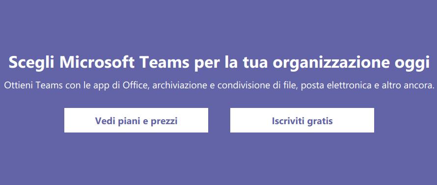Come registrarsi gratuitamente Microsoft Teams