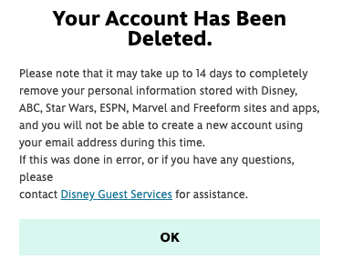 conferma cancellare account disney