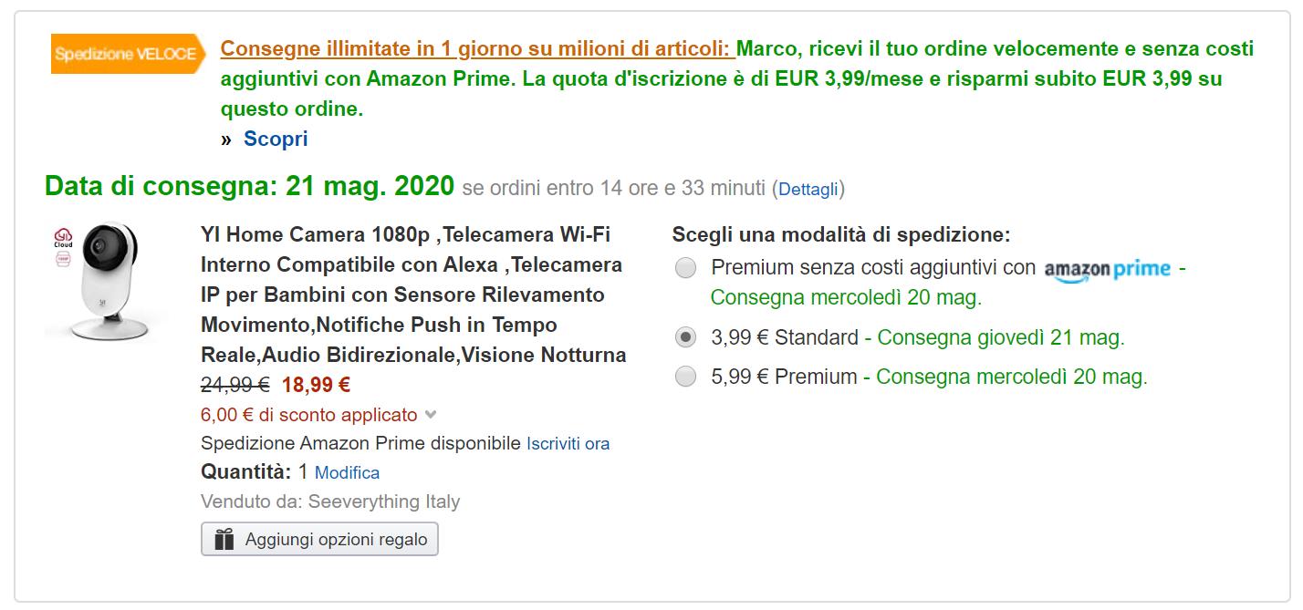 YI Home Camera in super offerta su Amazon a 18,99 euro con questo codice 1