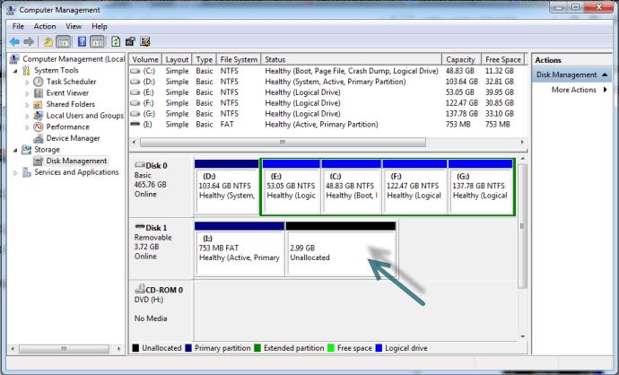 chiavetta USB non funziona disk management