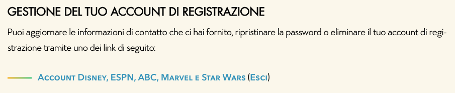 gestione account disney plus