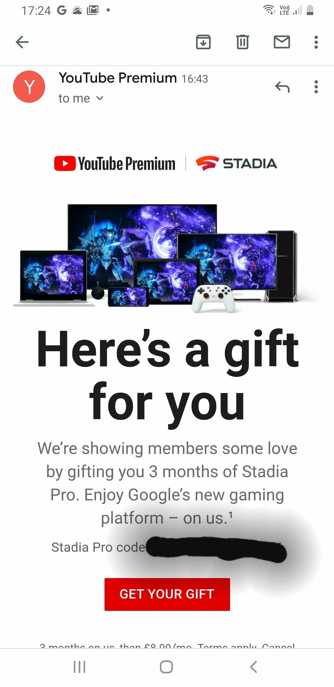 Google Stadia Pro YouTube Premium