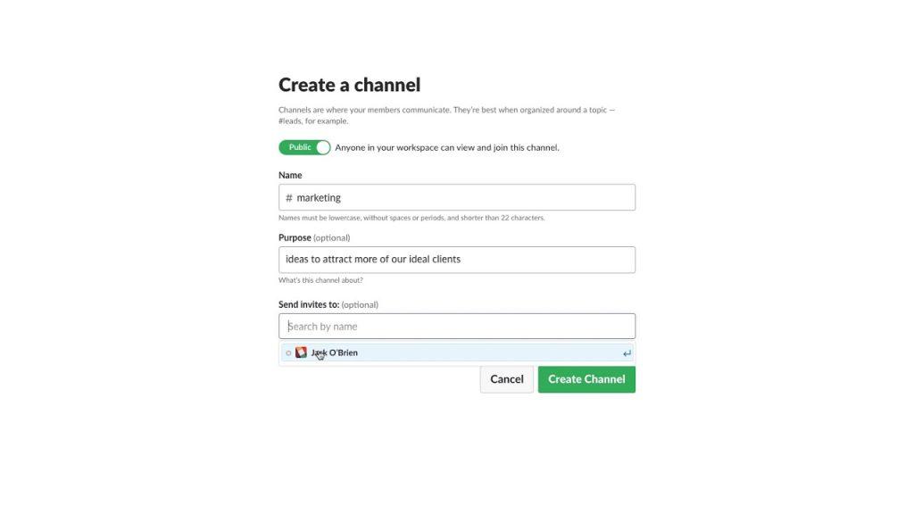 Come creare un canale Slack