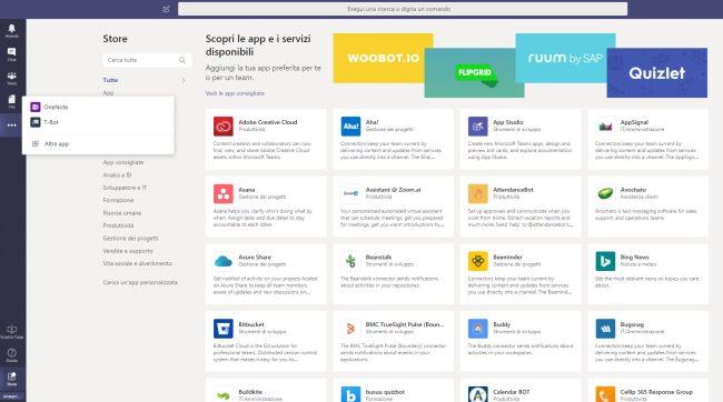 App disponibili per Microsoft Teams