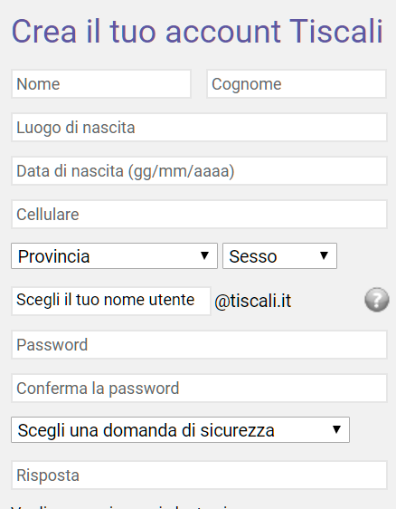 Tiscali mail creazione account