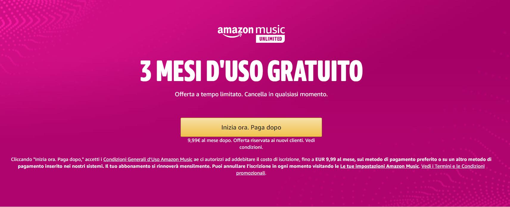amazon music unlimited promo 3 mesi gratis