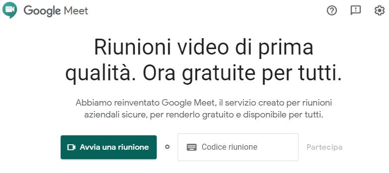 avviare una riunione con Google Meet