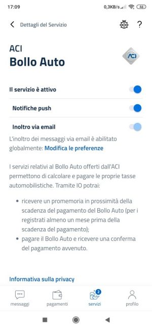 app IO bollo auto