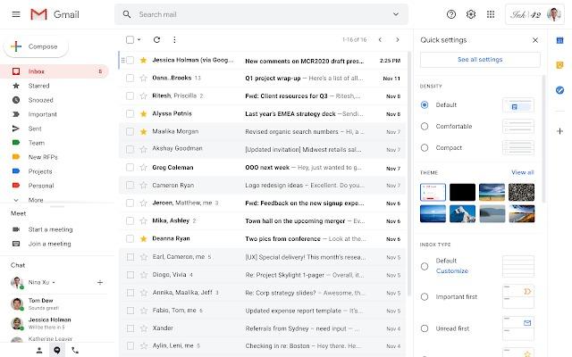 google group gmail nuovo design impostazioni rapide novità