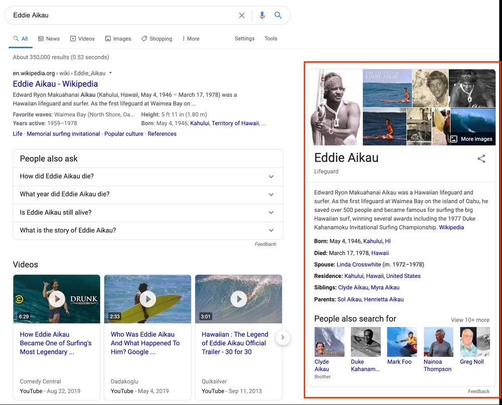 google knowledge panel graph novità
