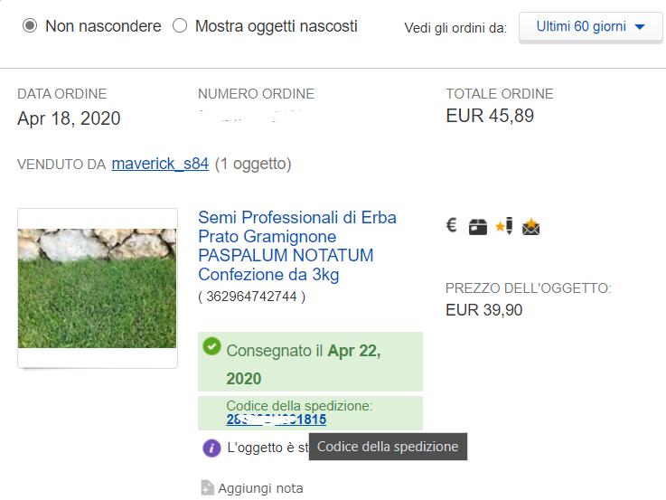 rintracciare un pacco su ebay