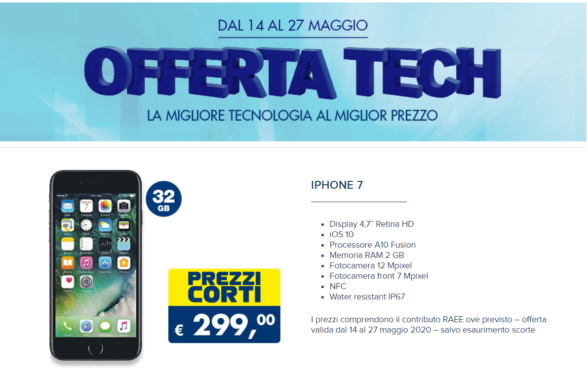 apple iphone 7 offerta tech esselunga