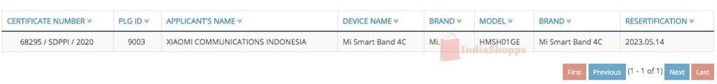 xiaomi mi band 5 smart 4c certificazione ncc