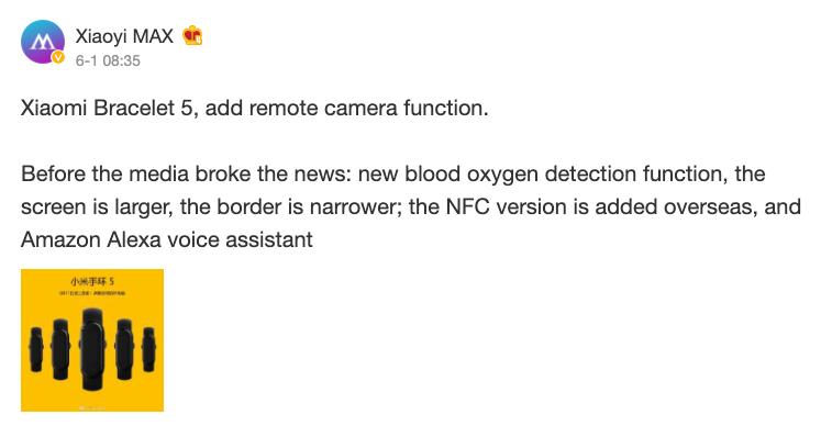 Quanta roba per Xiaomi Mi Band 5: SpO2, Alexa, NFC e tanto altro nel nuovo leak 1