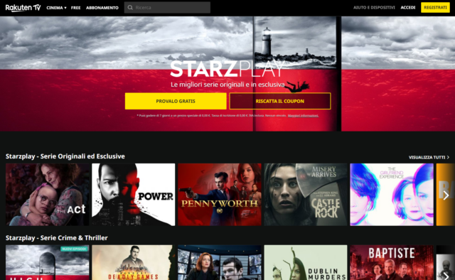 STARZPLAY arriva su Rakuten TV