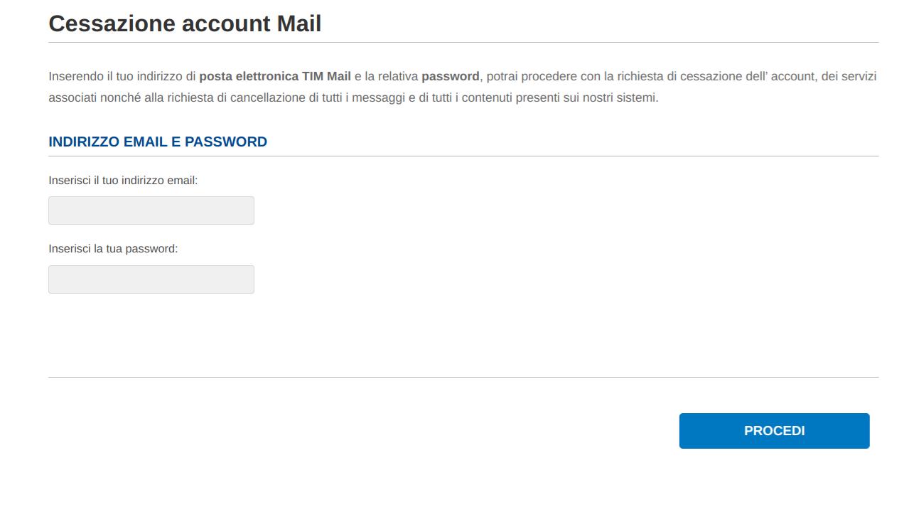 Alice Mail cessazione account