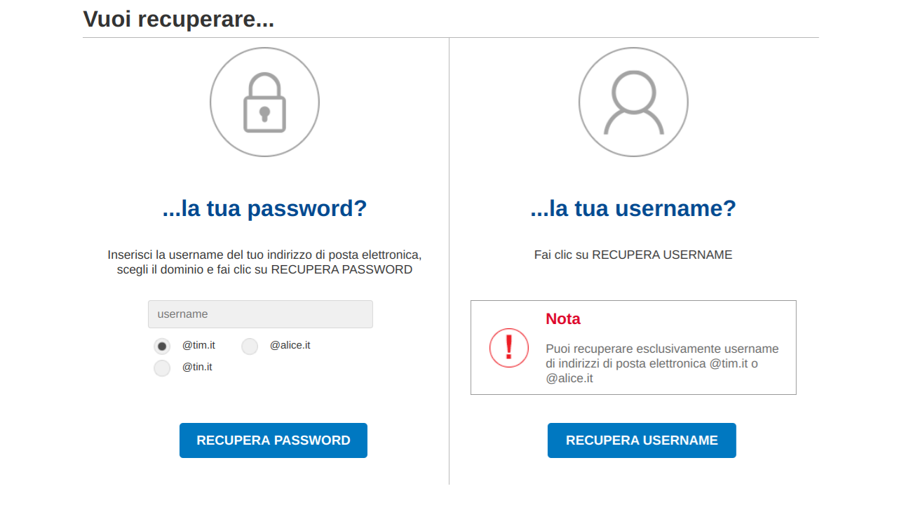 Alice Mail recupero password