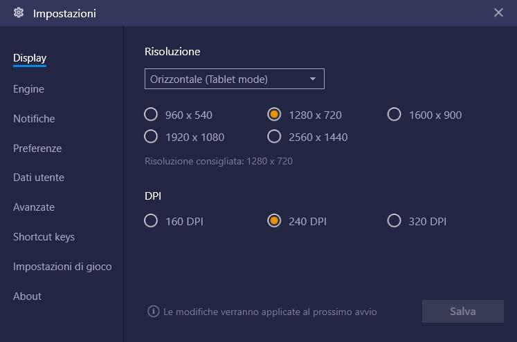 BlueStacks risoluzione schermo