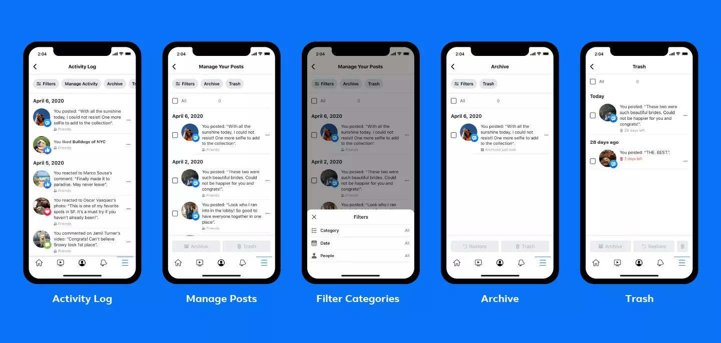 Facebook vi permette di fare pulizia dei vecchi post con Gestisci attività 1