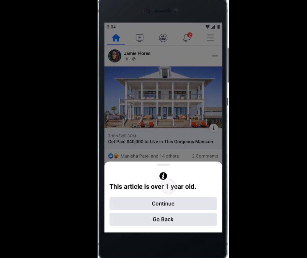 facebook avviso condivisione articoli vecchi tre mesi