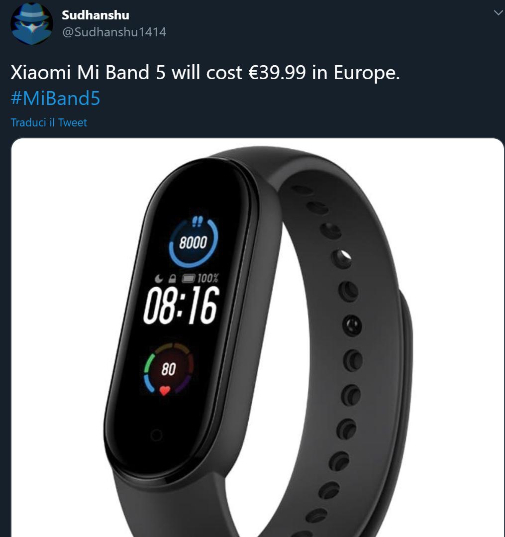 Svelato il prezzo di Xiaomi Mi Band 5 in Europa da un leak 1
