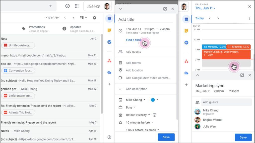 google calendar gmail modifica appuntamento barra laterale