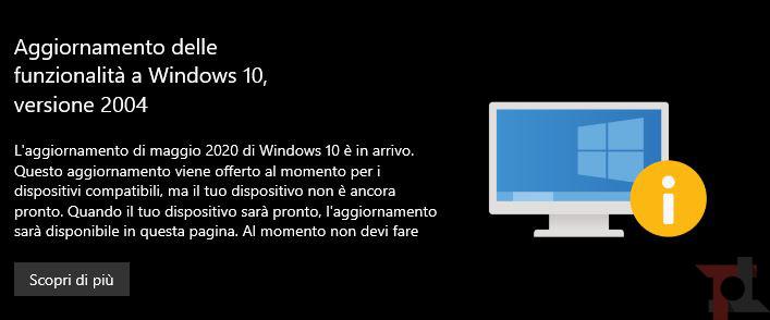 windows 10 aggiornamento maggio 2020 versione 2004