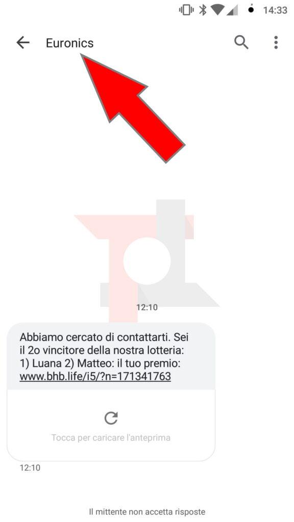 falso Euronics truffa SMS
